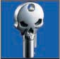 SKULL ROUND BARREL KEY BLANK FOR HARLEY DAVIDSON � TKS-1004-137 � CHROME / BLACK