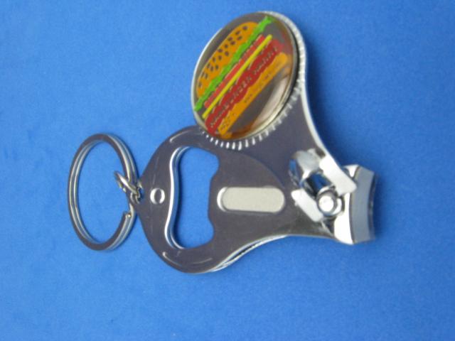 hamburger cheeseburger key ring nail clipper bottle opener 167 silver ebay. Black Bedroom Furniture Sets. Home Design Ideas